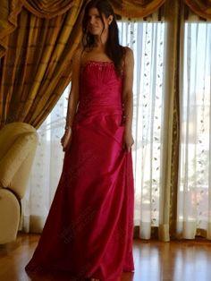 A-line Strapless Taffeta Floor-length Appliques Prom Dresses