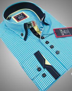 Double collar shirt - Paris blue stripes