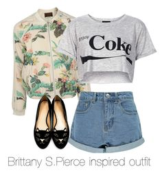 """""""Brittany S.Pierce inspired outfit/ Glee"""" by tvdsarahmichele ❤ liked on Polyvore featuring Maison Scotch, Topshop, Charlotte Olympia, Boohoo, glee, BrittanyPierce and heathermorris"""