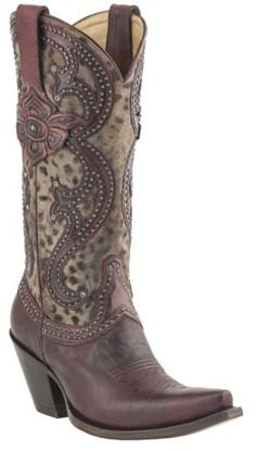 Lucchese 1883 Antique Red Cheetah Studded Cowgirl Boots - Snip Toe - Sheplers