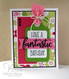 Hand stamped birthday card by Marisa Ritzen using the Simply Amazing stamp set and Amazing Adjectives die set from Verve. #vervestamps