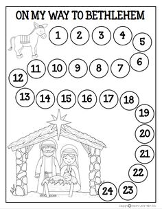 FREE Advent Calendar- Travel with the little donkey each day of December counting from 1-24 until you reach Bethlehem on Christmas day.