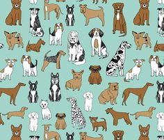 dogs // mint cute pets dog breeds hand drawn illustration dog pattern seamless pattern print fabric by andrea_lauren on Spoonflower - custom fabric Dog Mints, Andrea Lauren, Whatsapp Wallpaper, Dog Wallpaper, Dog Pattern, Background S, Happy Dogs, Dog Design, Spoonflower