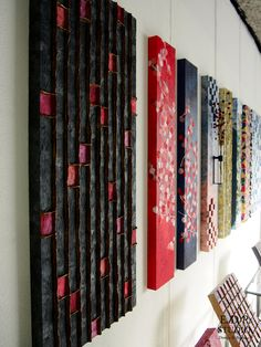 Handmade Japanese Art Panels and Wall Decorations Japanese Wall, Japanese Fabric, Japanese Design, Asian Bedroom Decor, Fabric Wall Art, Panel Art, Wall Art Designs, Wabi Sabi, Painting Inspiration
