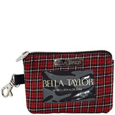 Ivy ID Please - The ID Please from our Ivy Collection comes in a single classic plaid of black, white and red tartan. The wallet easily clips to another bag with the attached dog hook clasp. Measuring 5x3.5