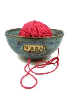 Blue Stoneware Yarn Bowl  Large Ceramic Crochet by PatsPottery,