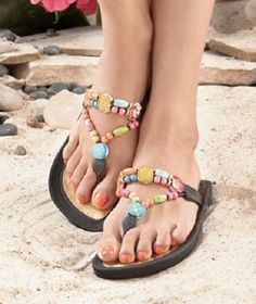 Women's Beaded Thong Sandals Large (9) -- Visit the image link more details.