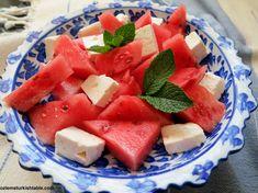 Watermelon and Turkish white cheese (or feta) Salad; Karpuz, peynir, ekmek