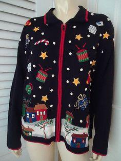 TIARA INTERNATIONAL Sz M Sweater Christmas Holiday Black Embroidery UGLY