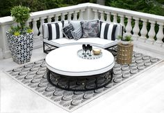 Black and White Creates an Old Hollywood Feel in This Outdoor Space >> http://www.hgtvgardens.com/design/outrageous-outdoor-spaces?soc=pinterest&s=3