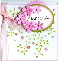 """Imagination Crafts Stencil - Apple Blossom, distress inks in worn lipstick and shabby shutters, Sizzix thinlits bunch of flowers, Hero Arts Say it All greetings stamp set, nestabilities ovals and Woodware 2.5"""" scallop circle punch."""