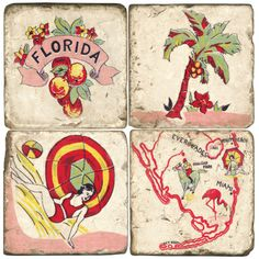 Florida Kitch-Hand made Marble coasters