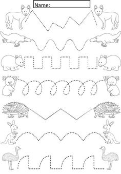 Australian Animals Tracing Lines Activity For Early Years/Special Needs Cute ac. - Australian Animals Tracing Lines Activity For Early Years/Special Needs Cute activity where studen - Preschool Writing, Preschool Learning Activities, Kindergarten Worksheets, Writing Activities, Preschool Activities, Kids Learning, Free Preschool, Preschool Activity Sheets, Preschool Kindergarten