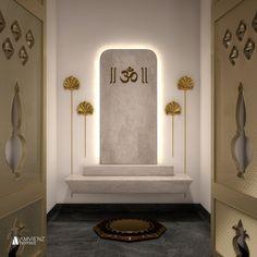 Pooja Room Door Design, Home Room Design, Home Interior Design, Living Room Designs, Foyer Design, Temple Design For Home, Home Temple, Temple Room, Mandir Design