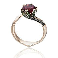 Tomasz Donocik Lily Pad rubellite ring in rose gold