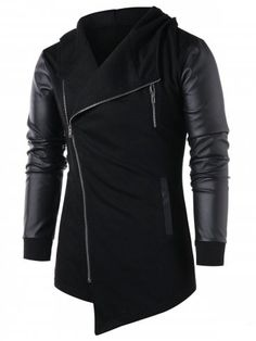 45962ed1c2c Mens Asymmetric Zip Up Embellished Panel Hoody Jacket Hooded Coat Parka  Outwear