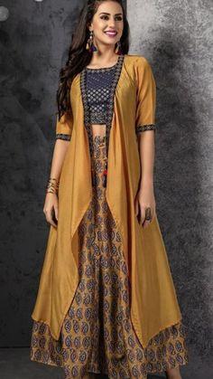 Beautiful Jacket with top and skirt Robe Anarkali, Lehnga Dress, Lehenga, Designer Kurtis, Indian Wedding Outfits, Indian Outfits, Indian Designer Outfits, Designer Dresses, Gown With Jacket