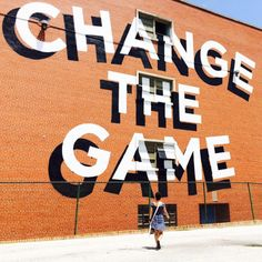 - Change the Game, mural by Stephen Powers. (Typeverything) - Change the Game, mural by Stephen Powers. - Change the Game, mural by Stephen Powers. Typography Quotes, Typography Letters, Typography Design, Wall Lettering, Bold Typography, Environmental Graphics, Environmental Design, Main 3d, Inspiration Typographie