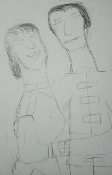 Happy Couple, pencil sketch, mechanical pencil copyright 2012 by A. Dameron #30DaysofCreativity #30DoC #art #drawing #marriage #Day15