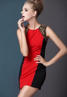 Red Black Block Sleeveless Studded Dress