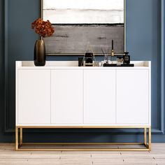 Add a touch of glamorous accent in your space with this delicate sideboard cabinet. Featuring a rectangular silhouette with pure tone, the sideboard lends a decent appeal for a luxurious update. Designed with four cabinet doors with three interior sh Dinning Room Buffet, Sideboard Cabinet, Dining Room Furniture, Modern Buffet, Interior, White Sideboard, Dining Room Sideboard, Buffet Decor, White Sideboard Buffet
