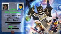 Lion's invitation for his Lego Dimensions themed party.