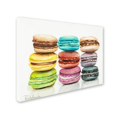 '9 Macarons' by Jennifer Redstreake Painting Print on Wrapped Canvas