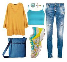 """#outfit #imagen #moda #fashion #mujer #donna #woman #beautiful #consejosdemoda #consiglidimoda #belleza #lookoftheday #curvygirl #curvywomen #jeans #denim #lookxl #lookxlovers #casualwear #lookcasual #lookshopping"" by eva-falcon-velazco on Polyvore featuring moda, Dsquared2, René Caovilla, Violeta by Mango, WearAll, Haiku e LC Lauren Conrad"