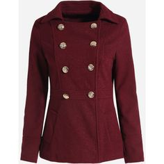 Double Breasted Pockets Lapel Cotton Plain Overcoats ($43) ❤ liked on Polyvore featuring outerwear, coats, red double breasted coat, lapel coat, red overcoat, over coat and double breasted coat