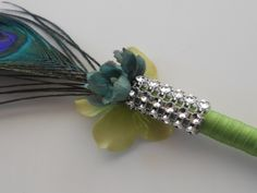Wedding Guest Book Peacock Feather Flower Pen by YesMoreFunk
