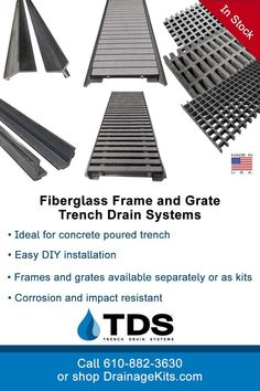 Frame and Grate systems offer a modular solution for installing trench drain. Available with a variety of grate styles to meet your application requirements, these durable kits are nonconductive, lightweight and corrosion and impact resistant. Purchase through our online store, or call 610-882-3630. #fiberglass #frameandgrate #diy #trenchdrainsystems #fibergrate #stormwaterrunoff #landscape #ADAcompliant #heelproof