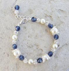 Swarovski Pearl, Rhinestone Crystal Bracelet by PoshBabyStore.com