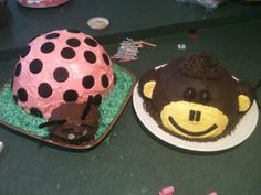 My 3 yr old twins' bday cakes!