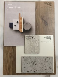 Laminex & essastone Inner Urban Colour Scheme - Natural Walnut, Ash White, Concrete Formwood, Flint Timber Kitchen, Walnut Kitchen, Urban Kitchen, House Color Schemes, Colour Schemes, House Colors, Natural Modern Interior, Ash Flooring, Carleton Place