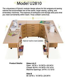 Sylvia Design U Shaped Dual Sewing Machine Center, Free Ship: 810 Compact  Air Lift Cabinet, 490 Storage Unit, 350 Storage Unit