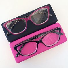 Firefly your way through hump day in these beauties! Pictured here, the Firefly reader in pink and black, and the Stripe case Online Glasses Store, Reading Glasses, Sunglasses Case, Stripes, Pink, Beauty, Black, Fashion, Moda