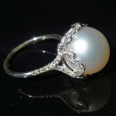 Stunning Large South Sea Pearl Ring 13mm Figural 14K White Gold Diamonds 1.26ct
