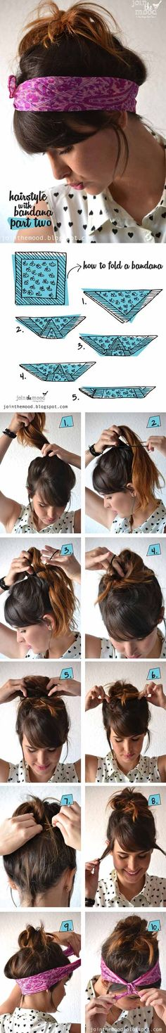 [ Quick And Easy Hairstyles For School : Cute Hairstyles You Can Do With A Scarf- Hairstyle with Bandana Part 2 - Try These Super Easy Haircuts And Hair Bandana Hairstyles Short, Headbands For Short Hair, Headband Hairstyles, Trendy Hairstyles, Bandana Headbands, Fast Hairstyles, Curly Haircuts, Summer Hairstyles, Medium Hair Styles