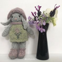 """Gudrun Dahle on Instagram: """"💜🐰👒 And now here is the summery lavender-inspired knitty kid in her hat 👒🐰💜 . ($XX CAD plus shipping. Swipe for details.)"""" Dinosaur Stuffed Animal, Lavender, Kid, Inspired, Toys, Animals, Inspiration, Instagram, Animales"""