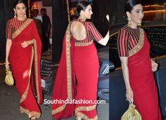 Karisma Kapoor in Red Sabyasachi Saree at Anil Kapoor's Diwali Bash - Blouse designs Saree Jacket Designs, Saree Blouse Neck Designs, Fancy Blouse Designs, Women's Dresses, Fashion Dresses, Saree Fashion, Bollywood Fashion, Sabyasachi Sarees, Bollywood Saree