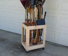 Long Tool Organizer Cart made with CNC-plywood -Brooms, Rakes, Shovels...