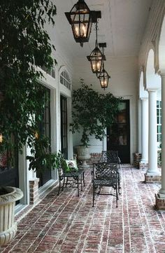 It's A Wonderful Palmetto Life, beautiful front porch outdoor living space with colonial farmhouse style, love the classic design and brick floor Outdoor Rooms, Outdoor Living, Outdoor Patios, Outdoor Kitchens, Outdoor Seating, Future House, Design Exterior, Brick Design, Patio Design