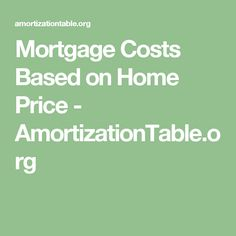 Mortgage Costs Based on Home Price - AmortizationTable.org