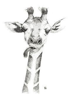 giraffe, stippling, blackwork, dotwork, pointillism, #kcgillies KC Gillies https://society6.com/product/giraffe-2-5st_print#1=45