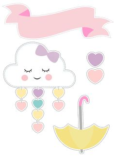 Rainbow and cloud birthday Cloud Party, Baby Shawer, Unicorn Party, Planner Stickers, Girl Birthday, Hello Kitty, Diy And Crafts, Applique, Clip Art