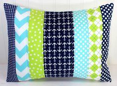 Nursery Pillow Cover, Throw Pillow Cover, Anchor Nursery Decor,  Lime Green, Aqua Blue, Navy Blue, Anchors, Nursery Decor Nautical, 12 x 16