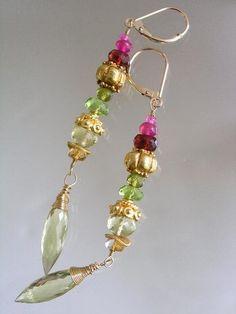 Lobe Sparklers...Lemon Qtz. Peridot Vesuvianite Ruby Garnet Vermeil Original Linear Earrings