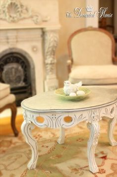 Silver Leaf top vintage table painted with Annie Sloan Paris Grey, then Old White.