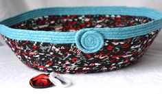 Black Cat Bed, Handmade Flannel Fabric Basket, Magazine Rack, Storage Organizer, Cozy Dog Bed, hand wrapped and coiled fabric basket - pinned by pin4etsy.com