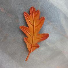 Broche de cuero hoja de roble - artesanum com